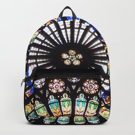 Stained glass cathedral rosette Backpack