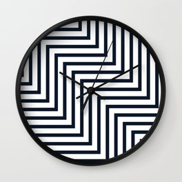 Geometric Art, Colorful Stripes, Navy and White, Abstract Art Wall Clock