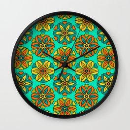 1970s retro flower print Wall Clock