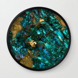 Teal Oil Slick and Gold Quartz Wall Clock