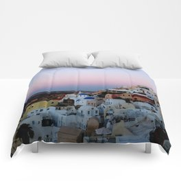 Dawn of Santorini Greece Comforters