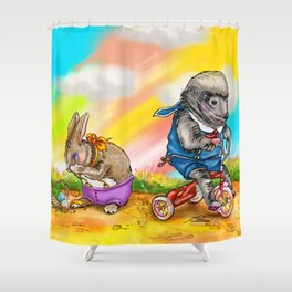 Easter Bunny Haz No Friends Shower Curtain