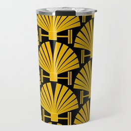 Art Deco Gold Palm Fan Pattern Travel Mug