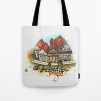 prague Tote Bags featuring Prague by Hande Unver
