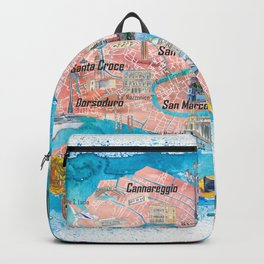 Venice Italy  Illustrated Map with Main Canals Landmarks and Highlights Backpack