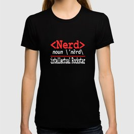 """Nerd and rockstar at the same time? You can be both with this """"Nerd Intellectual Rockstar Tee"""" T-shirt"""