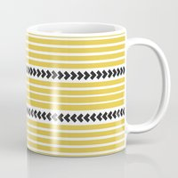 striped Mugs featuring Striped by Mariana Nabas