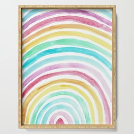 Pastel Watercolour Rainbow art Serving Tray