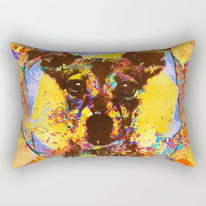 Jack Russell Terrier Abstract Mixed Media Rectangular Pillow