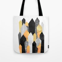 minerals Tote Bags featuring Black & Yellow Crystals by Elisabeth Fredriksson