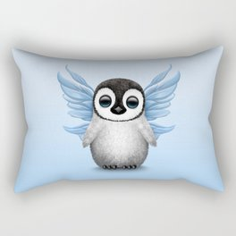 Cute Baby Penguin with Blue Fairy Wings Rectangular Pillow