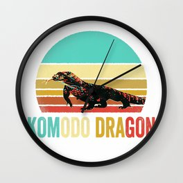 Vintage Komodo Dragon Shirt Sunset Wall Clock