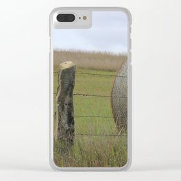 Kansas Hay Bale in a field with a fence Clear iPhone Case