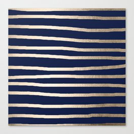 Drawn Stripes White Gold Sands on Nautical Navy Blue Canvas Print