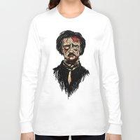 edgar allan poe Long Sleeve T-shirts featuring Edgar Allan Poe Zombie by Joey Gates