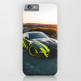 green and black wide body Gtr at sunset iPhone Case