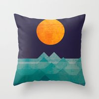 summer Throw Pillows featuring The ocean, the sea, the wave - night scene by Picomodi