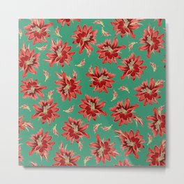 Red Christmas Flowers on Green Botanical Floral Pattern Metal Print