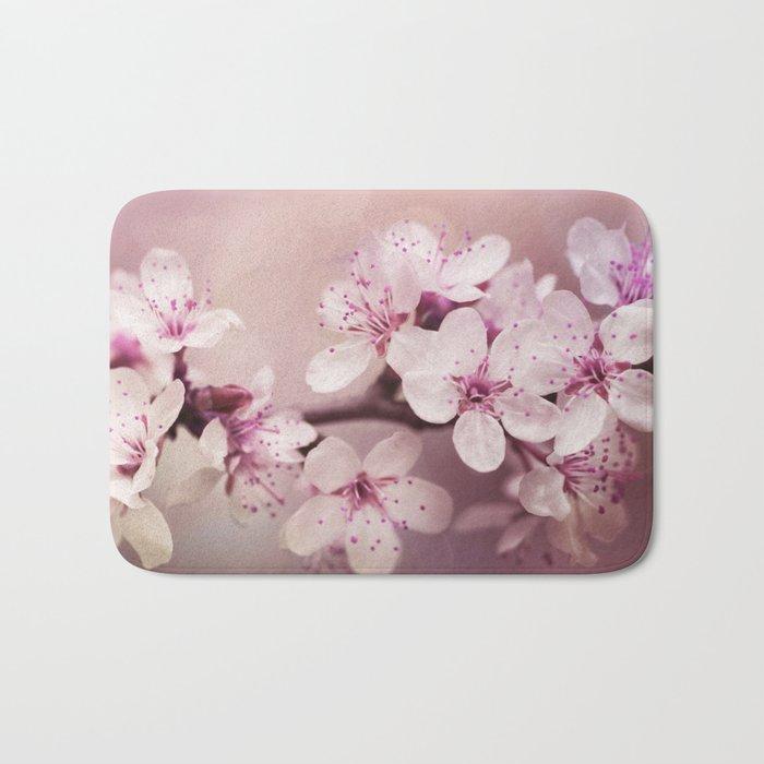 soft pink cherry blossom Bath Mat