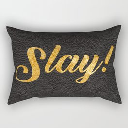 Slay Gold Metallic Typography Leather Background Rectangular Pillow
