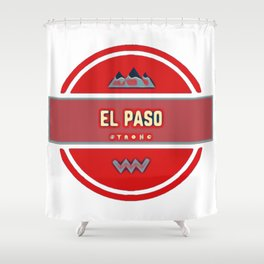 El paso strong red decal support Shower Curtain