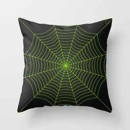 Neon green spider web Throw Pillow