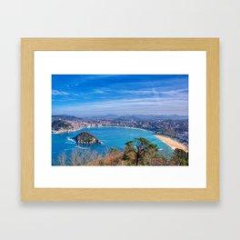 La Concha Bay seen from Igeldo Mount. Framed Art Print