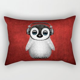 Cute Baby Penguin Dj Wearing Headphones on Red Rectangular Pillow
