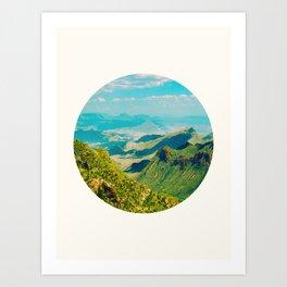 Mid Century Modern Round Circle Photo Graphic Design Vintage Pastel Green Mountain Valley Art Print