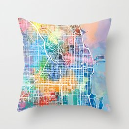 chicago map watercolor Throw Pillow
