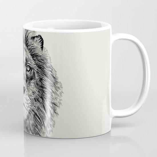 Black+White Lion Mug