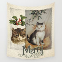 Merry Catmas vintage cat xmas illustration Wall Tapestry