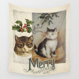 Merry Catmas vintage cat xmas illustration Wall Tapestry