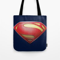 superman Tote Bags featuring Superman by DeBUM