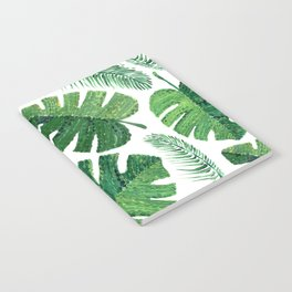 Monstera leaves and palm leaves Notebook