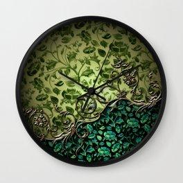Wonderful floral design, green colors Wall Clock