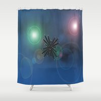 outer space Shower Curtains featuring Bugs in outer space.... by Cherie DeBevoise