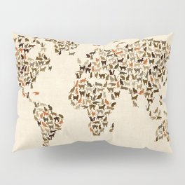 Cats Map of the World Map Pillow Sham