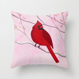 Cardinal on Pink Throw Pillow