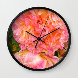 Folded Pink and Orange Rose Wall Clock