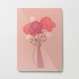 Pink Floral Bouquet in a Vase Metal Print