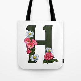 Letter H, Initial H, Monogram, Floral Decorated Letter Tote Bag