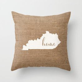 Kentucky is Home - White on Burlap Throw Pillow