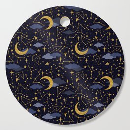 Celestial Stars and Moons in Gold and Dark Blue Cutting Board