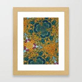 Orange and Green Flora Framed Art Print