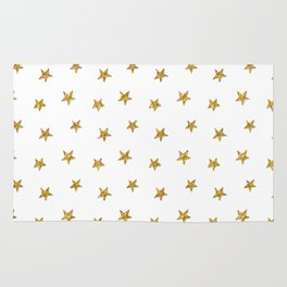 Merry christmas-Stars shining brightly-Gold glitter pattern Rug