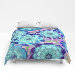 Radiant Cyan & Purple Stained Glass Floral Mandalas Comforters