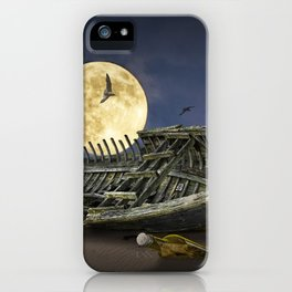 Moon and Wooden Shipwreck with Gulls iPhone Case