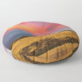 Orange Virga with Rainbow on a Field Floor Pillow