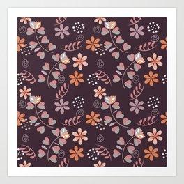Nordic Foral Pattern Art Print
